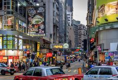 Strade affollate di Kowloon fotografie stock