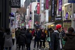 Strade affollate di Myeongdong Seoul Corea Fotografie Stock Libere da Diritti