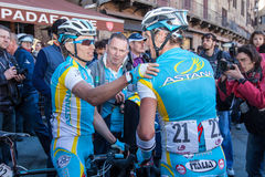 Strade Bianche 2012. SIENA, ITALY - MARCH 03: Maxim Iglinskiy and Roman Kreuziger after the 2012 Edition of Strade Bianche, bicycle race across tuscan hills, in Royalty Free Stock Photography