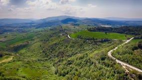 Strade della campagna della Toscana, vista aerea Fotografia Stock