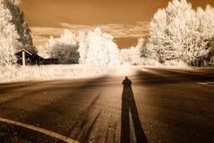 strade della ghiaia della campagna Immagine infrarossa Fotografie Stock Libere da Diritti