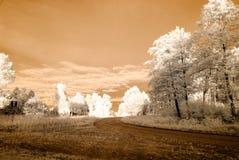 strade della ghiaia della campagna Immagine infrarossa Immagini Stock Libere da Diritti