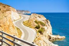 Strade della montagna e serpentine di Creta, Candia Fotografie Stock Libere da Diritti