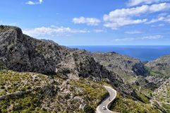 Strade della montagna sul majorca Balearic Island in spagna fotografia stock libera da diritti