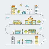 Strade di città con le vie, il trasporto, la scuola, le Camere ed i negozi Illustrazione colorata del profilo di vettore Fotografie Stock Libere da Diritti