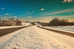Strade di inverno Immagine Stock