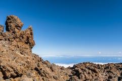 Strade e lava rocciosa del vulcano Teide Fotografie Stock Libere da Diritti