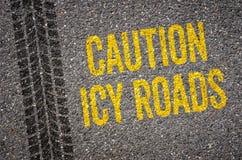 Strade ghiacciate di cautela Fotografia Stock Libera da Diritti