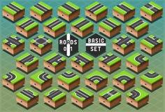 Strade isometriche su terreno verde illustrazione vettoriale