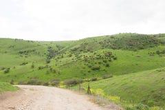 Strade non asfaltate fra le montagne piene di erba verde fotografie stock