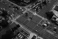 Strade trasversali della metropoli in bianco e nero Fotografia Stock Libera da Diritti