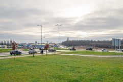 Strade trasversali in Pruszcz Gdanski cludly al giorno Fotografie Stock Libere da Diritti