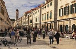 Stradun,杜布罗夫尼克,克罗地亚老镇  免版税库存图片