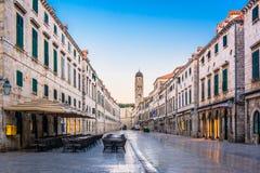 Stradun - alte berühmte Straße in Dubrovnik, Kroatien Lizenzfreie Stockfotografie