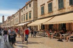 Stradun and Bell tower. Dubrovnik. Croatia Stock Photos