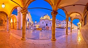 Stradun in Dubrovnik arches and landmarks panoramic view at dawn. Dalmatia region of Croatia Royalty Free Stock Photo