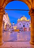 Stradun in Dubrovnik arches and landmarks view at dawn. Dalmatia region of Croatia Stock Image