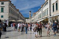 Stradun, Dubrovnik. DUBROVNIK, CROATIA: SEPTEMBER 28: Dubrovnik holds European day of languages on the famous Stradun street of old town on September 28, 2016 Royalty Free Stock Photos