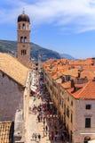 Stradun, la calle principal de Dubrovnik Foto de archivo libre de regalías
