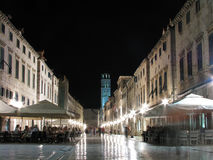 Stradun By Night, Dubrovnik, Croatia Stock Photo