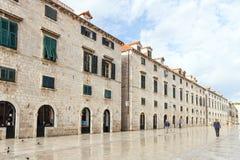 Stradun quieto em Dubrovnik Imagens de Stock Royalty Free
