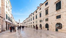 Stradun, rua principal de Dubrovnik, Croatia Foto de Stock