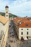 Stradun, a rua principal na cidade velha em Dubrovnik Imagens de Stock Royalty Free