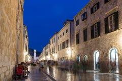 Stradun, a rua principal na cidade velha em Dubrovnik Imagem de Stock