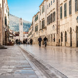 Stradun, rue principale de Dubrovnik, Croatie Image libre de droits