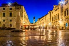 Stradun-Straße in alter Dubrovnik-Stadt, Kroatien lizenzfreies stockbild