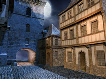 Straße in einer mittelalterlichen Stadt Stockbild