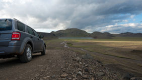 Straße zu Landmannalaugar Stockfotos