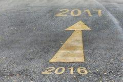 Straße zum neuen Jahr von 2016 bis 2017 Stockfoto