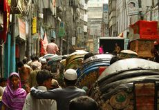 Straßeenleben in Dacca Stockbild