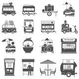 Straßen-Lebensmittel-Schwarz-weiße Ikonen eingestellt Stockfotos