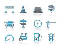 Straßen-, Navigations- und Verkehrsikonen Stockbild