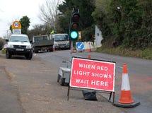 Straßenarbeitenzeichen Stockfotos