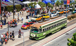 Straßenbahn Sans Francisco Pier 39 Lizenzfreies Stockfoto
