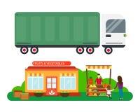 Straßenhändler mit Stallfrüchten und LKW-Frachtstadttransportvektorillustration Lizenzfreie Stockfotografie