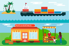 Straßenhändler mit Stallfrüchten und Schiffsfrachtseetransportvektorillustration Stockfoto