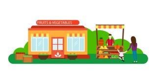 Straßenhändler mit Stallobst und gemüse -vector Illustration Lizenzfreie Stockfotos