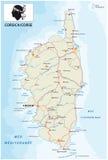 Straßenkarte der französischen Mittelmeerinsel Korsika mit Flagge Stockfoto