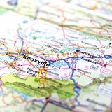 Straßenkarte von Knoxville Tennessee Stockfotografie