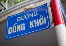 Straßenschild in der Dong Khoi Straße Stockfotografie