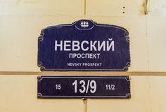 Straßenschild für Nevsky-Aussicht, St Petersburg, Russland Lizenzfreies Stockfoto
