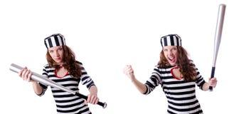 Straffångebrottslingen i randig likformig Fotografering för Bildbyråer