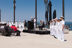 Strahl Mabus und Klaps Quinn USS Illinois an der Zeremonie Lizenzfreies Stockfoto