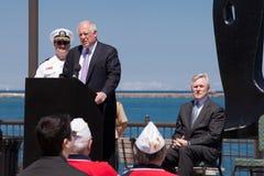 Strahl Mabus und Klaps Quinn USS Illinois an der Zeremonie Lizenzfreie Stockbilder