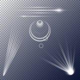 Strahlen auf einem Plaidhintergrund Transparente Flecken des Lichtes Stockfotos