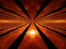 Strahlen der roten Dämmerung, brennender Horizont Stockfotos
